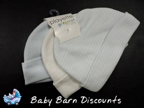 Playette - 3 Pk Premmie Cotton/ Nylon Beanie - Stripe Blue/ Blue/ White