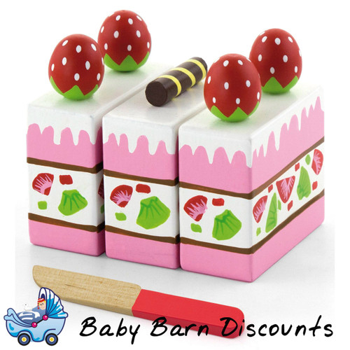 Viga Wooden Cutting Food Strawberry Cake + Knife Velcro Pretend Kitchen Kids Toy