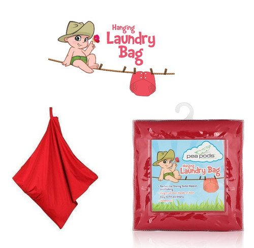 Pea Pods Hanging Laundry Bag - Red