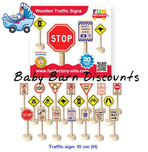 Fun Factory - Wooden Traffic Signs 20 Australian Road Signs