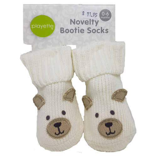 Playette Newborn Booties Socks White Bear