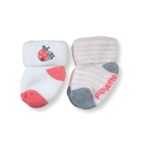 Playette Newborn Bootie Socks 0-3 Months 2 Pack - Pink Ladybug