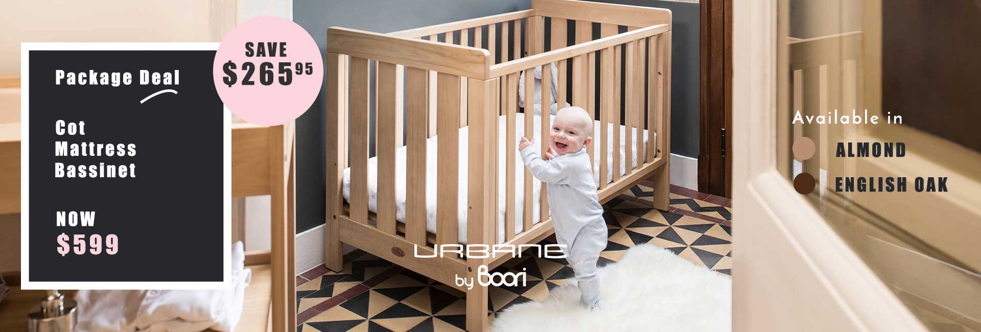 Boori Package Deal cot, mattress and bassinet