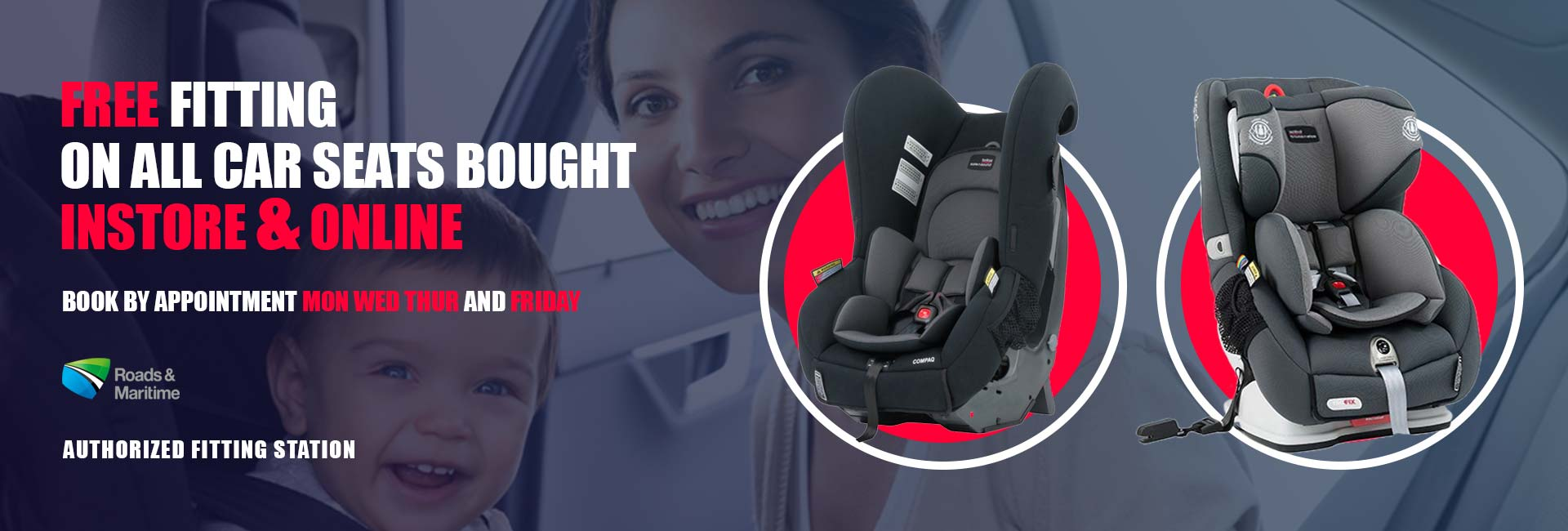 free fitting on all car seats bought instore and online at baby barn discounts