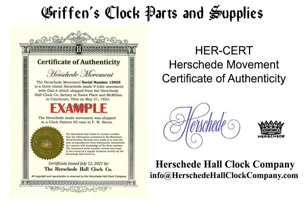 HERSCHEDE MOVEMENT CERTIFICATE OF AUTHENTICITY