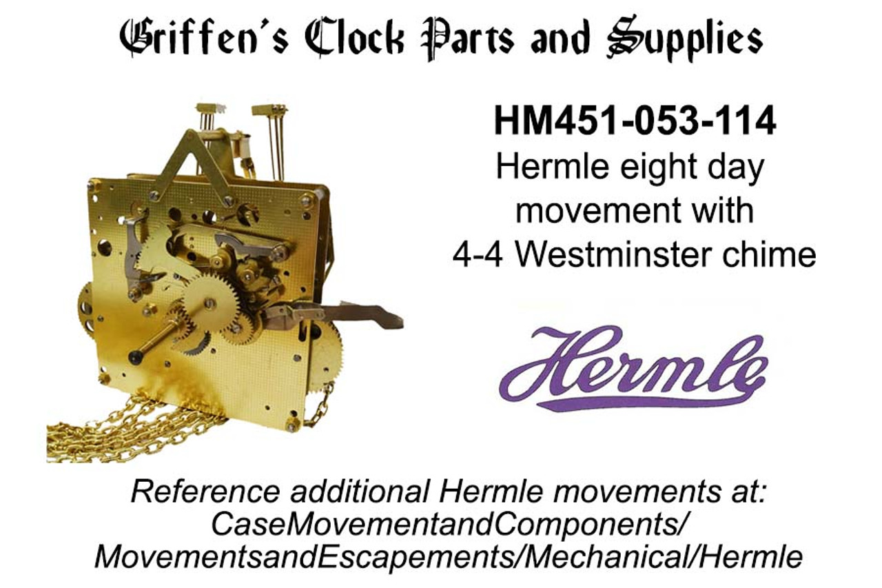HERMLE 451-053 WEIGHT DRIVEN MOVEMENTS NOS