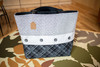 QUILTED TOTE BAG- B&W WITH BUTTONS