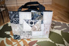 QUILTED TOTE BAG- BLACK & CREAM WITH POCKET