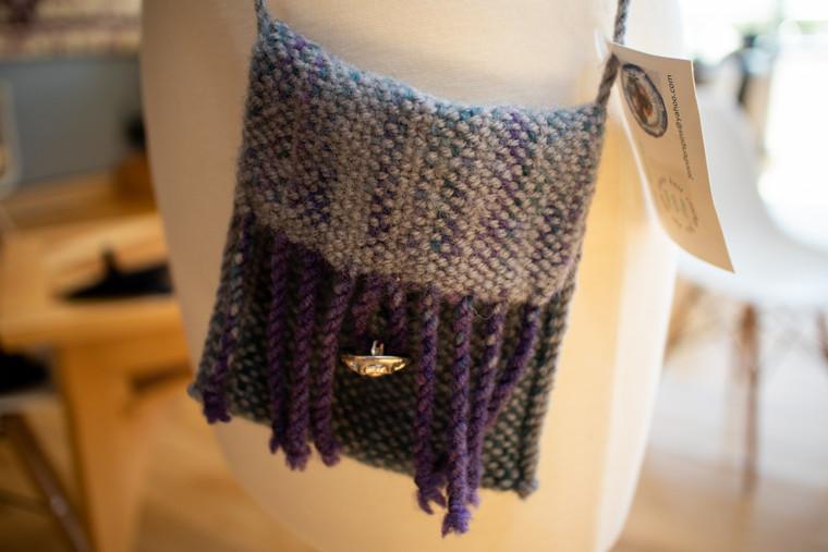 Wool Handbag (Grey/Purple) - 55053