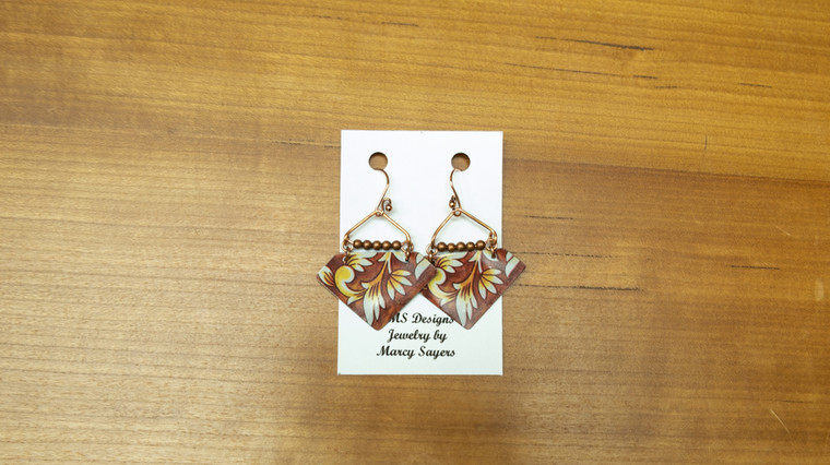 Hanging Tin Earrings (Red Floral)