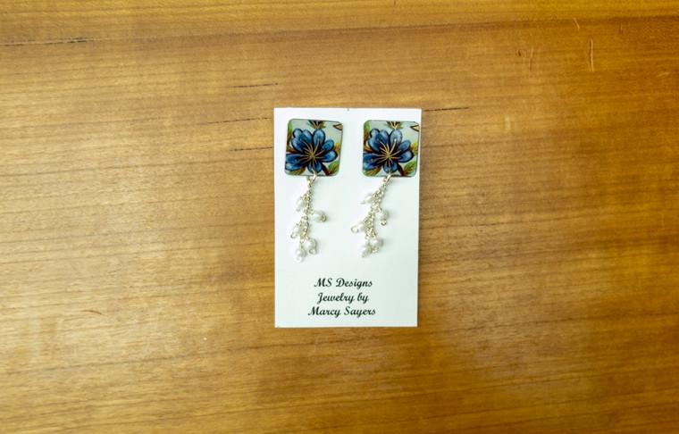 Stud Tin Earrings (Blue Floral)