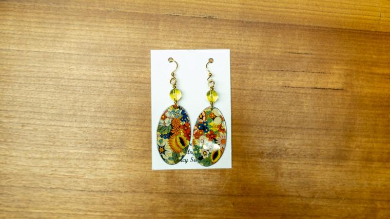 Oval Hanging Tin Earrings