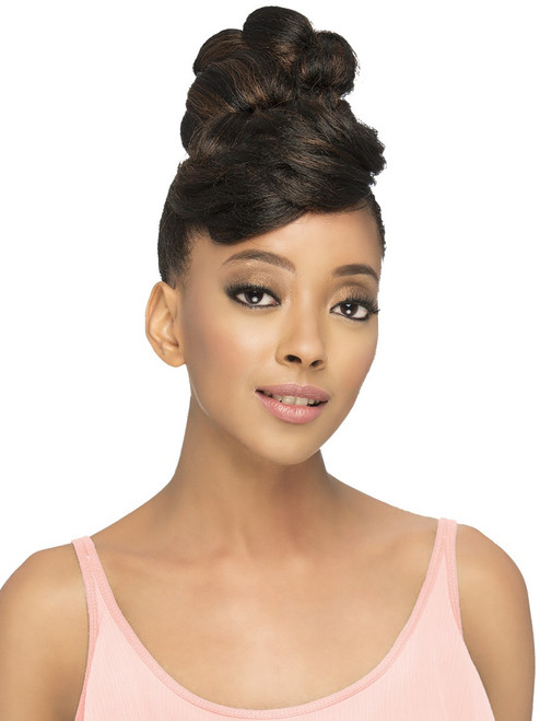 Shy Heat Friendly Synthetic Bang And Bun Hairpiece Uptownwigs