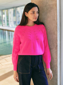 Lace Pointelle Crewneck
