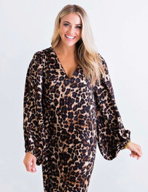 Leopard Satin Puff Sleeve Dress