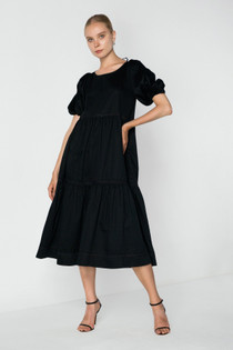 Freedom Puff Sleeve Tiered Dress