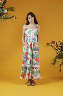 Le Basque Tropical Leaf Print Maxi