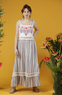 Le Jasse Embroidered Maxi Dress