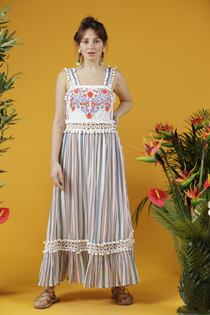 Le Jasse Embroidered Maxi Dress