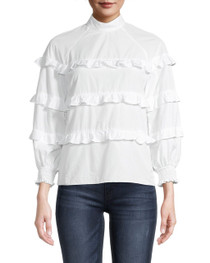 Cotton Poplin Ruffle Blouse