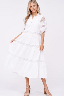 Tiered Lace Detail Midi Dress