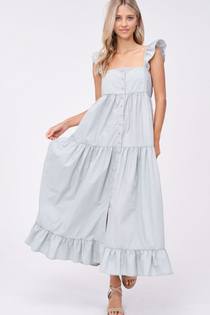 Tiered Midi Dress with Flutter Sleeves