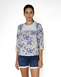 Country Floral Embroidered Top