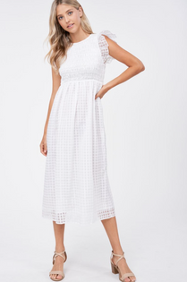 Organza Gingham Midi Dress