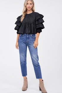 Poplin Ruffled Sleeve Blouse