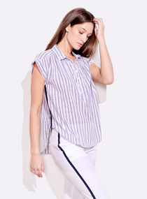 Stripe Short Sleeve Henley