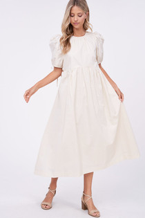 Poplin Solid Midi Dress