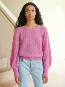 Lace Stitch Scallop Crewneck Sweater