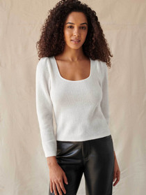 Square Neck Puff Sleeve Sweater