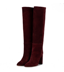 Burgundy Suede Toral Knee High Boots