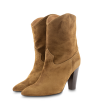 Tobacco Suede Heeled Ankle Toral Boot