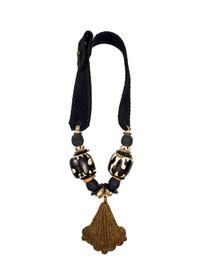Mid Brass Pendant Necklace - Batik
