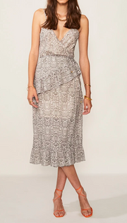 Sylvie Wrap Frill Midi Dress