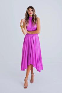 Solid Halter Pleat Dress