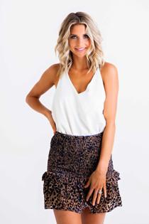 Leopard Smocked Skirt