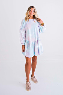 Tie Dye Ruffle Knit Dress
