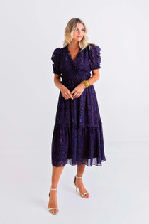 Snake Chiffon Puff Sleeve Midi Dress