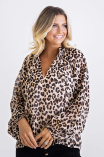 Leopard Lurex Chiffon Top