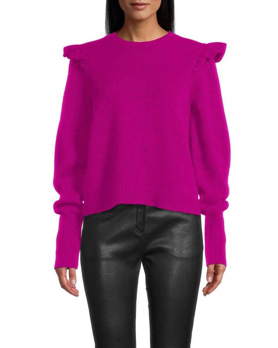 Puff Sleeve Jewel Neck Sweater