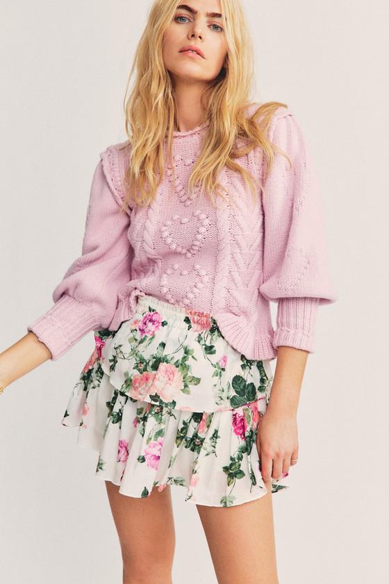 Ruffle Floral Mini Skirt