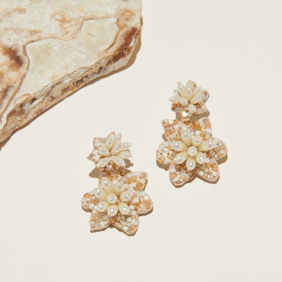 Camellia Pearl Drop Earring