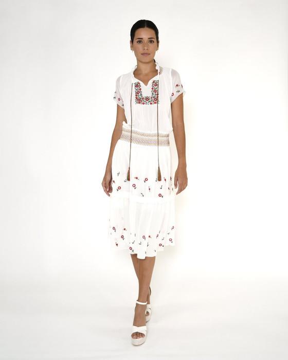 Embroidered Peasant Midi Dress