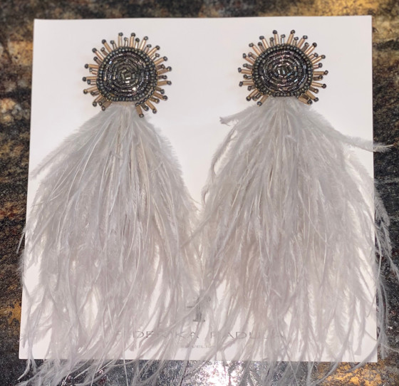 Mosaic Beaded Feather Earring