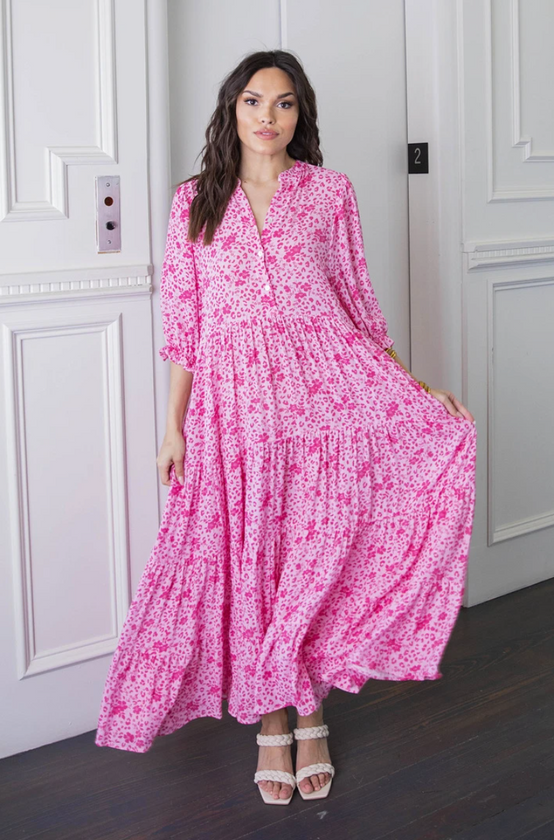 Floral Boho Puff Sleeve Midi Dress