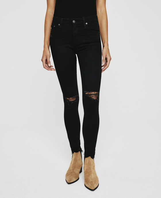 Farrah Skinny Ankle Midnight Black Destructed