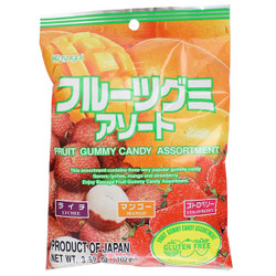 Kasugai Fruit Gummy Candy Assortment (Lychee, Mango, Strawbery)
